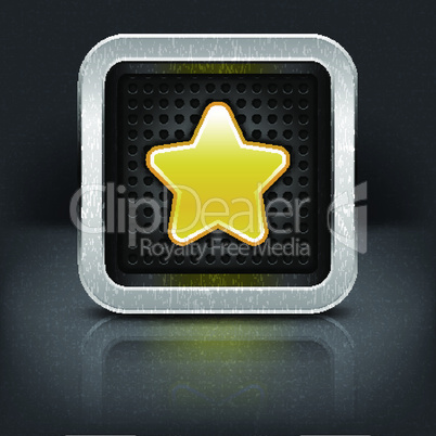 Yellow gold star icon with chrome metal frame