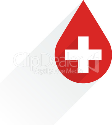 Donate drop blood red sign with cross and shadow