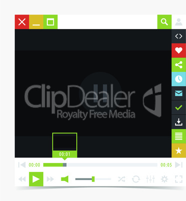 Flat media player interface with video loading bar