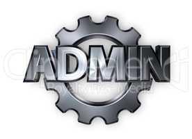 zahnrad und das wort admin - 3d illustration
