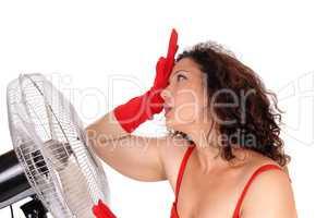 Hot woman with big fan.