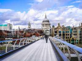 Saint Paul church and Millennium Bridge London HDR