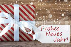 Present With Snowflakes, Text Neues Jahr Means Happy New Year