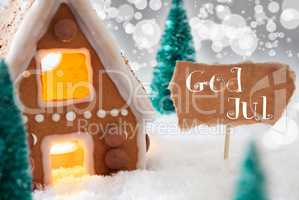Gingerbread House, Silver Background, God Jul Means Merry Christmas