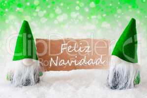 Green Natural Gnomes With Card, Feliz Navidad Means Merry Christ