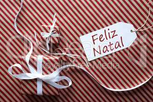 Two Gifts With Label, Feliz Natal Means Merry Christmas