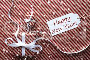 Gifts With Label, Snowflakes, Text Happy New Year