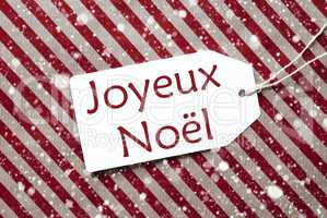 Label On Red Paper, Snowflakes, Joyeux Noel Means Merry Christmas