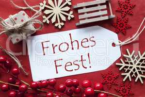 Label WIth Decoration, Frohes Fest Means Merry Christmas