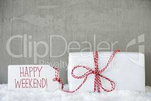 One Gift, Urban Cement Background, Text Happy Weekend