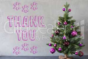 Christmas Tree, Cement Wall, Text Thank You