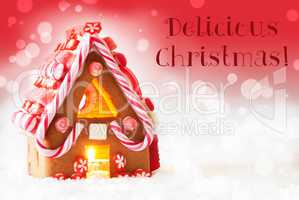 Gingerbread House, Red Background, Text Delicious Christmas