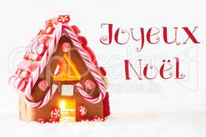Gingerbread House, White Background, Joyeux Noel Means Merry Christmas