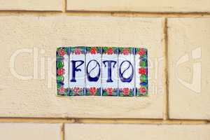 Word foto on decorative ceramic tiles