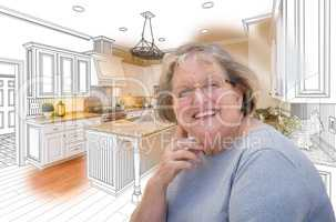 Senior Woman Over Custom Kitchen Design Drawing and Photo