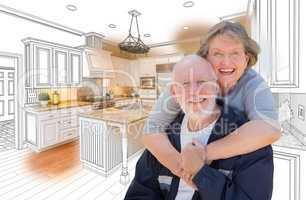 Senior Couple Over Custom Kitchen Design Drawing and Photo