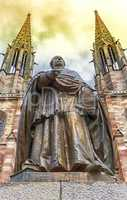 Charles-Emile Freppel statue in front of Saints-Pierre-et-Paul-Church in Obernai, France