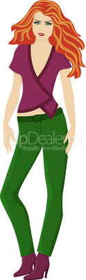 Lady in green pants and in marsala color blouse