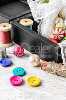 Thread,button and fabric