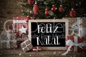 Nostalgic Tree, Snowflakes, Feliz Natal Means Merry Christmas