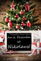 Christmas Tree With Nikolaustag Means Nicholas Day