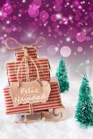 Vertical Sleigh On Purple Background, Feliz Navidad Means Merry Christmas
