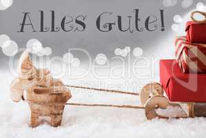Reindeer With Sled, Silver Background, Alles Gute Means Best Wishes