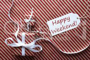 Two Gifts With Label, Text Happy Weekend