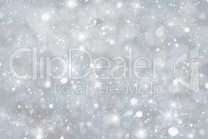 Gray Christmas Background With Snwoflakes, Bokeh And Stars, Blue Color