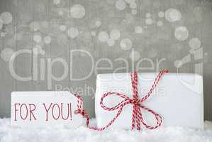 Gift, Cement Background With Bokeh, Text For You