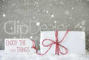 Gift, Cement Background With Snowflakes, Quote Enjoy Little Things