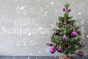 Tree, Snowflakes, Cement Wall, Frohe Weihnachten Means Merry Christmas