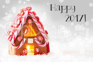 Gingerbread House, Silver Background, Text Happy 2017