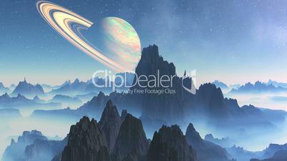 Saturn On A Background Alien Landscape