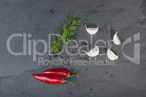 Dill, garlic, red peppers