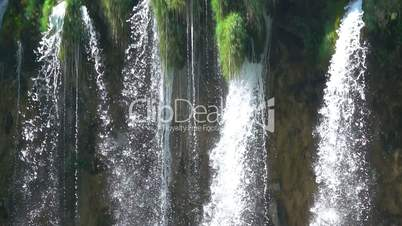 Waterfall Close-Up. Flight of Water. Slow Motion