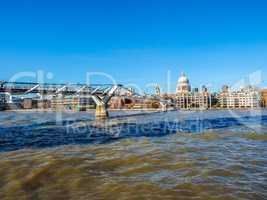 Millennium Bridge in London HDR
