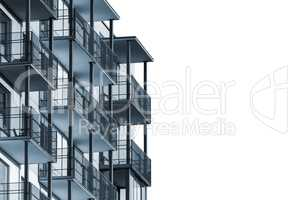 Apartment building with balconies isolated