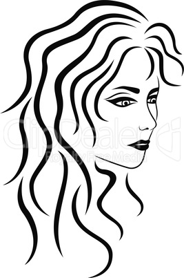Abstract female portrait half turn outline