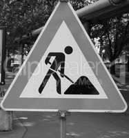 Road works sign in black and white