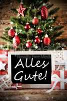Christmas Tree With Alles Gute Means Best Wishes