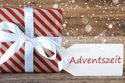 Present With Snowflakes, Text Advetszeit Means Advent Season
