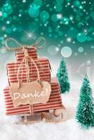 Vertical Christmas Sleigh On Green Background, Danke Means Thank You