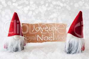 Red Gnomes With Card, Joyeux Noel Means Merry Christmas