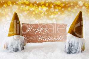 Golden Noble Gnomes With Card, Text Happy Weekend