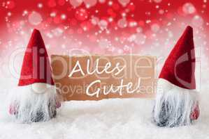 Red Christmassy Gnomes With Card, Alles Gute Means Best Wishes