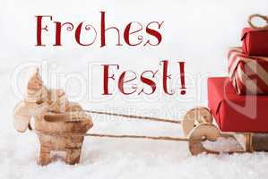 Reindeer With Sled On Snow, Frohes Fest Means Merry Christmas