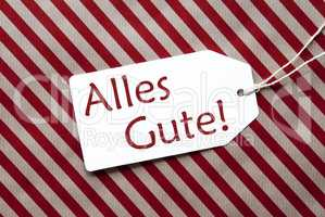 Label On Red Wrapping Paper, Alles Gute Means Best Wishes