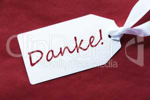 One Label On Red Background, Danke Means Thank You