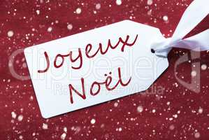 Label On Red Background, Snowflakes, Joyeux Noel Means Merry Christmas